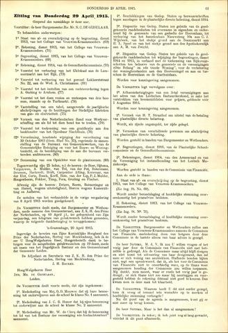 Handelingen van de Raad 1915-04-29