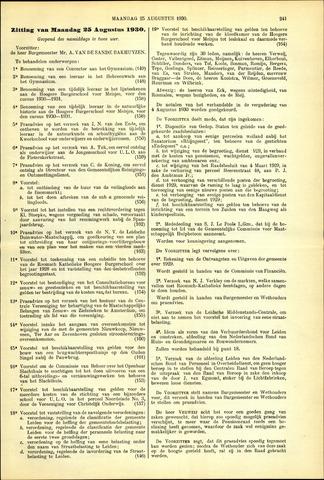 Handelingen van de Raad 1930-08-25