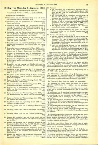 Handelingen van de Raad 1926-08-09
