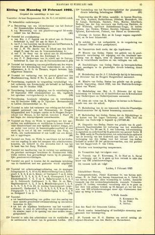 Handelingen van de Raad 1923-02-12