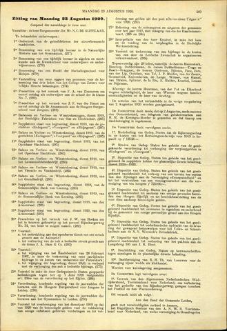 Handelingen van de Raad 1920-08-23