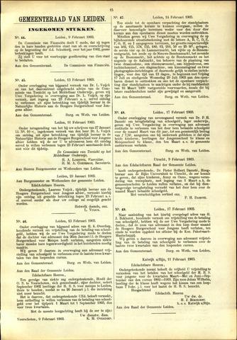 Handelingen van de Raad 1903-02-09