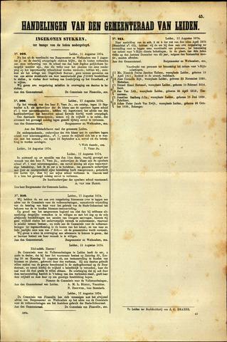 Handelingen van de Raad 1874-08-11