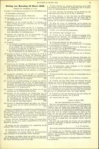 Handelingen van de Raad 1923-03-12