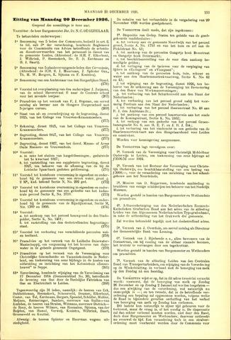 Handelingen van de Raad 1926-12-20
