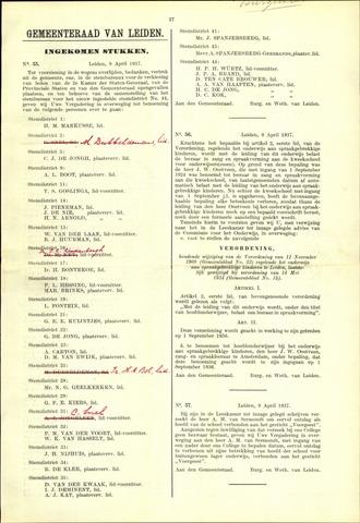 Handelingen van de Raad 1937-04-09