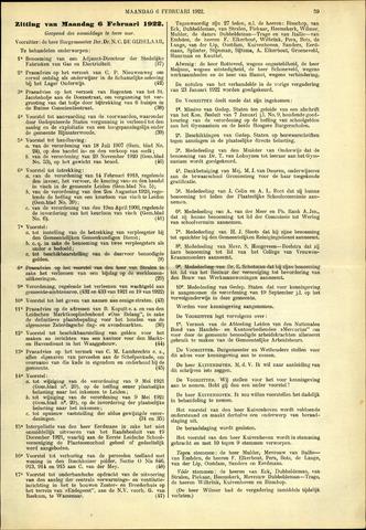 Handelingen van de Raad 1922-02-06