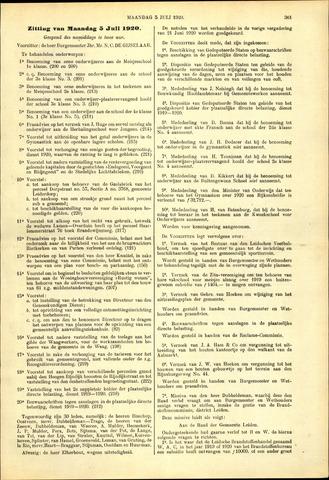Handelingen van de Raad 1920-07-05