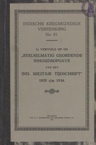 Stelselmatig Geordende Inhoudsopgave van het Ind. Militair Tijdschrift 1935