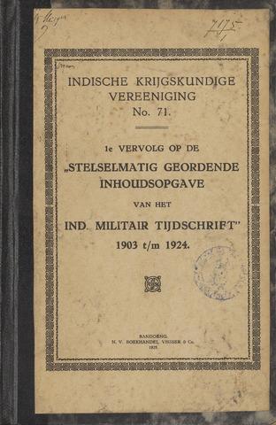 Stelselmatig Geordende Inhoudsopgave van het Ind. Militair Tijdschrift 1925-01-01