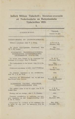 Indisch Militair Tijdschrift 1922