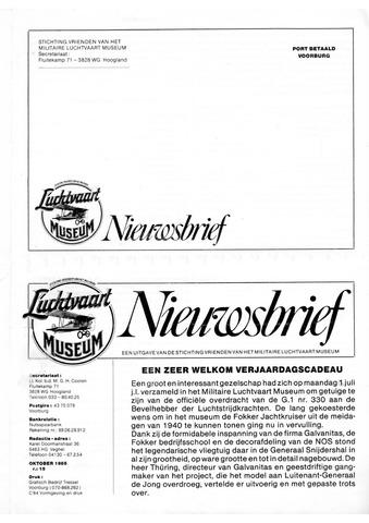Nieuwsbrief Militaire Luchtvaart Museum 1985-10-01