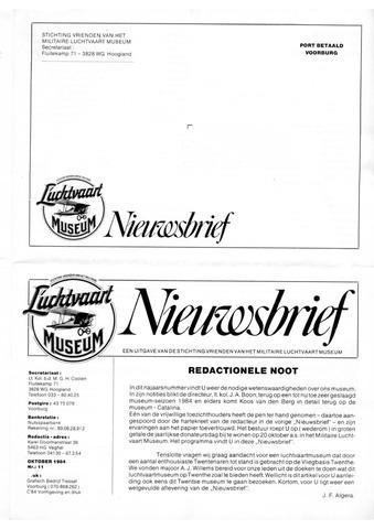 Nieuwsbrief Militaire Luchtvaart Museum 1984-10-01