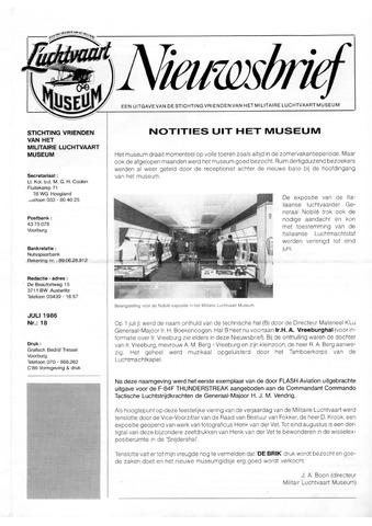 Nieuwsbrief Militaire Luchtvaart Museum 1986-07-01