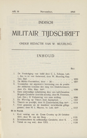 Indisch Militair Tijdschrift 1915-11-01
