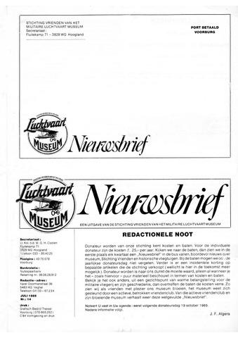 Nieuwsbrief Militaire Luchtvaart Museum 1985-07-01