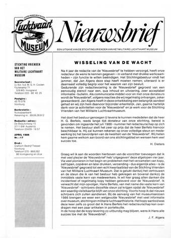 Nieuwsbrief Militaire Luchtvaart Museum 1986-04-01