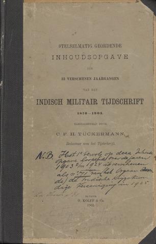 Stelselmatig Geordende Inhoudsopgave van het Ind. Militair Tijdschrift 1903