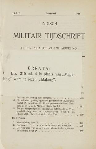 Indisch Militair Tijdschrift 1916-02-01