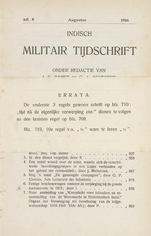 Indisch Militair Tijdschrift 1916-08-01