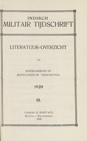 Indisch Militair Tijdschrift 1920-12-01