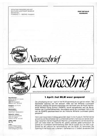 Nieuwsbrief Militaire Luchtvaart Museum 1985-04-01