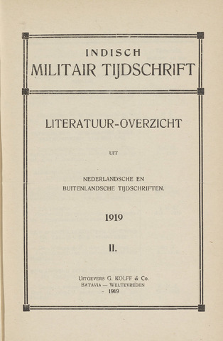 Indisch Militair Tijdschrift 1919