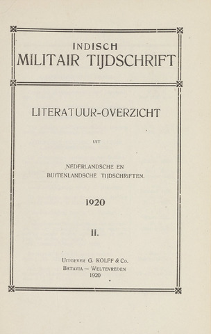 Indisch Militair Tijdschrift 1920