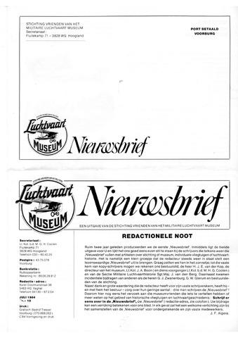 Nieuwsbrief Militaire Luchtvaart Museum 1984-07-01