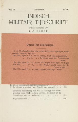 Indisch Militair Tijdschrift 1920-11-01
