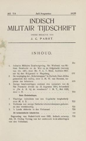 Indisch Militair Tijdschrift 1920-07-01