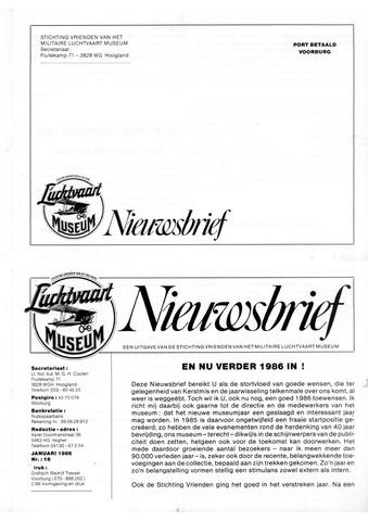 Nieuwsbrief Militaire Luchtvaart Museum 1986