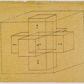 Tesseract met pijlen naar binnen en buiten gericht
