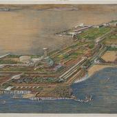 Tekening bebouwing eiland in de Egeïsche Zee