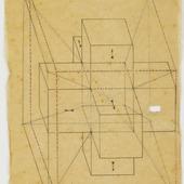 Tesseract met pijlen naar buiten gericht