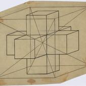 Tesseract in kubus met snijlijnen