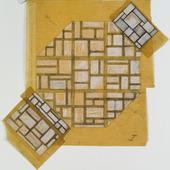 Kleurontwerp voor de vloer, wanden en plafonds van de Universiteitshal