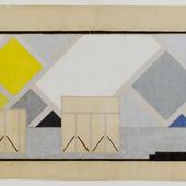 Definitief kleurontwerp voor wand, kant Kleine Feestzaal, Ciné-dancing, Aubette
