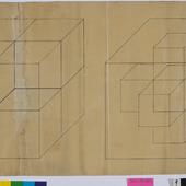 Kubus met constructielijenen en tesseract in kubus