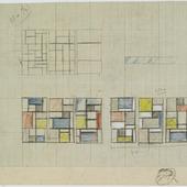 Ontwerp driedelig glas-in-loodraam voor het Appartement André Horn