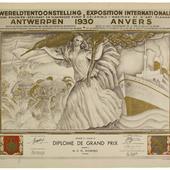 'Diplôme de Grand Prix' voor Wijdeveld voor de 'Exposition Internationale des Arts Décoratifs et Industriels Modernes', Parijs 1925. 2 exemplaren.