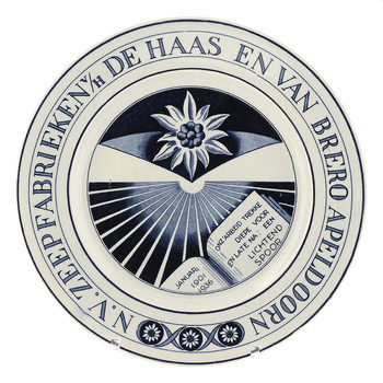 wandbord t.g.v. het 35-jarig jubileum N.V. Zeepfabrieken v/h De Haas en van Brero Apeldoorn, 1936