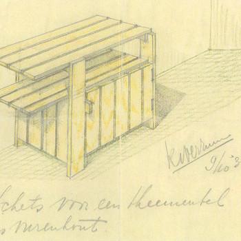 schets voor een theemeubel in vurenhout
