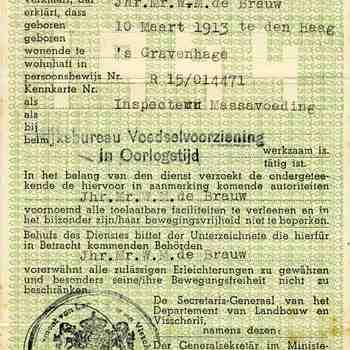 legitimatiebewijs op naam van Jhr mr de Brauw, afgegeven door Departement van Landbouw en Visscherij, dec. 1944