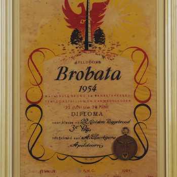 Diploma Brobata Brood- en Banketbakkerij Tentoonstelling 1954