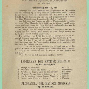 Programma van den feestelijken intocht van zijne majesteit den koning in de gemeente Apeldoorn, op maandag den 25 mei 1874