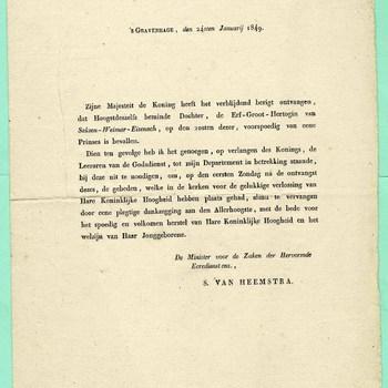 Circulaire van de Minister voor de Zaken der hervormde Eeredienst enz, S. van Heemstra, 24 januarij 1849