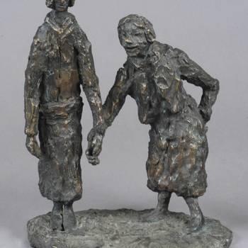 bronzen beeldengroep, voorstellende patiënten Apeldoornsche Bosch, ca.1946