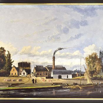 Olieverfschilderij van de Gasfabriek te Apeldoorn, 1870.