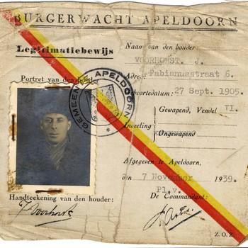 legitimatiebewijs burgerwacht Apeldoorn J. Voorhorst, 07-11-1939